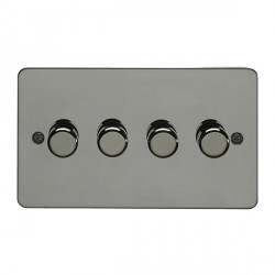 Eurolite Enhance Flat Plate Black Nickel 4 Gang 250W LED Dimmer with Matching Knob