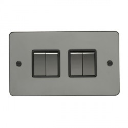 Eurolite Enhance Flat Plate Black Nickel 4 Gang 10A 2 Way Switch with Matching Rocker and Black Insert