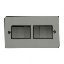 Eurolite Enhance Flat Plate Black Nickel 6 Gang 10A 2 Way Switch with Matching Rocker and Black Insert