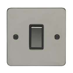 Eurolite Enhance Flat Plate Black Nickel 1 Gang 20A Intermediate Switch with Matching Rocker and Black In...
