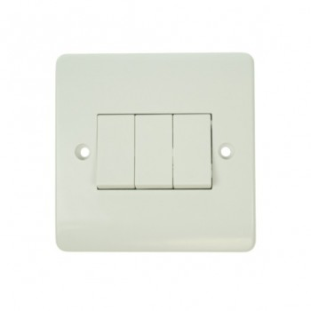 Click Mode 3 Gang 10amp 2 Way White PVC Switch