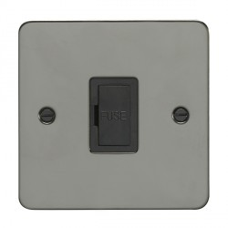 Eurolite Enhance Flat Plate Black Nickel 1 Gang 13A Unswitched Fuse Spur with Black Insert