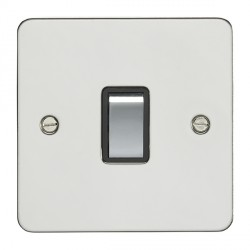 Eurolite Enhance Flat Plate Polished Stainless 1 Gang 20A DP Switch with Matching Rocker and Black Insert