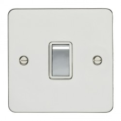 Eurolite Enhance Flat Plate Polished Stainless 1 Gang 20A DP Switch with Matching Rocker and White Insert