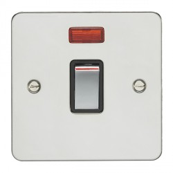 Eurolite Enhance Flat Plate Polished Stainless 1 Gang 20A DP Switch and Neon with Matching Rocker and Bla...