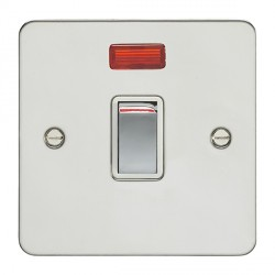 Eurolite Enhance Flat Plate Polished Stainless 1 Gang 20A DP Switch and Neon with Matching Rocker and White Insert