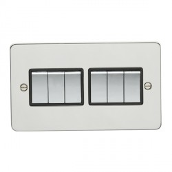 Eurolite Enhance Flat Plate Polished Stainless 6 Gang 10A 2 Way Switch with Matching Rocker and Black Ins...