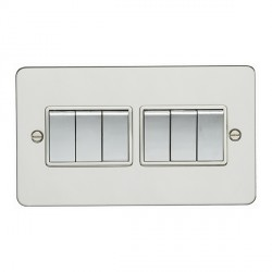 Eurolite Enhance Flat Plate Polished Stainless 6 Gang 10A 2 Way Switch with Matching Rocker and White Insert