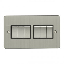 Eurolite Flat Plate Satin Stainless 6 Gang 10 Amp 2 Way Switch with Matching Rocker and Black Insert