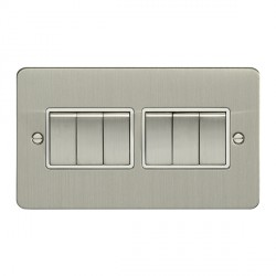 Eurolite Enhance Flat Plate Satin Stainless 6 Gang 10A 2 Way Switch with Matching Rocker and White Insert