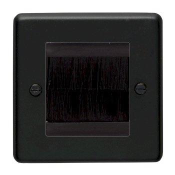 Eurolite Stainless Steel Matt Black 1 Gang Brush Plate with Black Insert