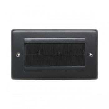 Eurolite Stainless Steel Matt Black 2 Gang Brush Plate with Black Insert