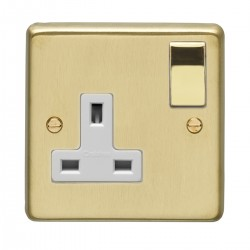 Eurolite Stainless Steel Satin Brass 1 Gang 13 Amp DP Switched Socket with Polished Brass Rocker and White Insert