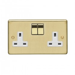 Eurolite Stainless Steel Satin Brass 2 Gang 13 Amp DP Switched Socket with Matching Rocker and White Insert