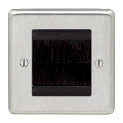 Eurolite Stainless Steel Satin Stainless 1 Gang Brush Plate with Black Insert