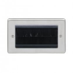 Eurolite Stainless Steel Satin Stainless 2 Gang Brush Plate with Black Insert
