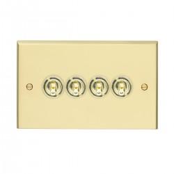 Eurolite Victorian Polished Brass 4 Gang 10 Amp 2 Way Toggle Switch with Matching Toggle
