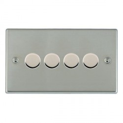 Hamilton Hartland Bright Steel 4 Gang 100W Intelligent LED Dimmer