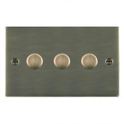 Hamilton Sheer Antique Brass 3 Gang 100W Intelligent LED Dimmer
