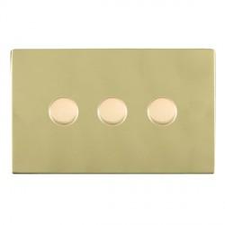 Hamilton Sheer CFX Polished Brass 3 Gang 100W Intelligent LED Dimmer