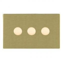 Hamilton Sheer CFX Satin Brass 3 Gang 100W Intelligent LED Dimmer