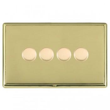 Hamilton Linea-Rondo CFX Polished Brass/Polished Brass 4 Gang 100W Intelligent LED Dimmer