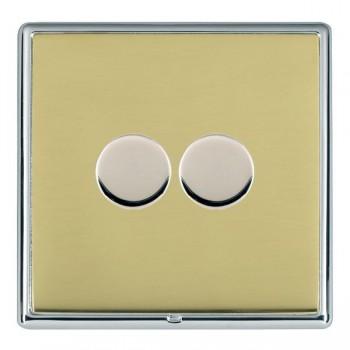 Hamilton Linea-Rondo CFX Bright Chrome/Polished Brass 2 Gang 100W Intelligent LED Dimmer