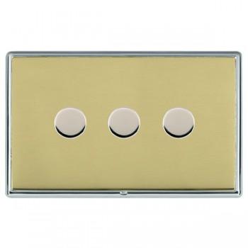 Hamilton Linea-Rondo CFX Bright Chrome/Polished Brass 3 Gang 100W Intelligent LED Dimmer