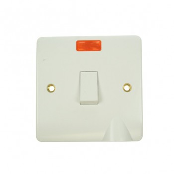 Click Mode 20amp White PVC Switch with Neon and Flex Outlet