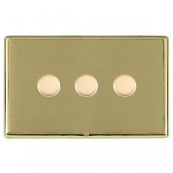 Hamilton Linea-Rondo CFX Polished Brass/Satin Brass 3 Gang 100W Intelligent LED Dimmer