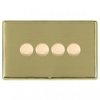 Hamilton Linea-Rondo CFX Polished Brass/Satin Brass 4 Gang 100W Intelligent LED Dimmer