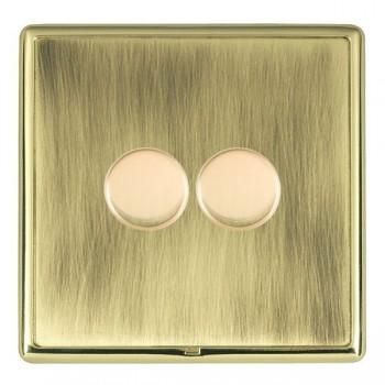 Hamilton Linea-Rondo CFX Polished Brass/Antique Brass 2 Gang 100W Intelligent LED Dimmer