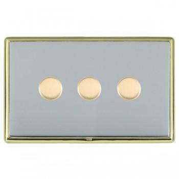 Hamilton Linea-Rondo CFX Polished Brass/Bright Steel 3 Gang 100W Intelligent LED Dimmer