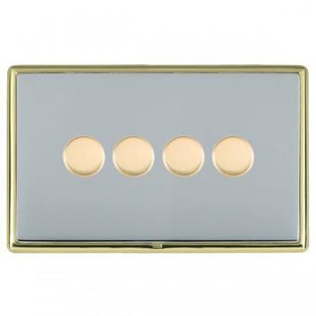 Hamilton Linea-Rondo CFX Polished Brass/Bright Steel 4 Gang 100W Intelligent LED Dimmer