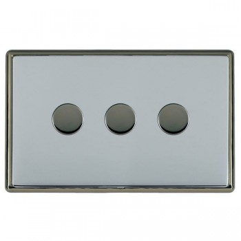 Hamilton Linea-Rondo CFX Black Nickel/Bright Steel 3 Gang 100W Intelligent LED Dimmer
