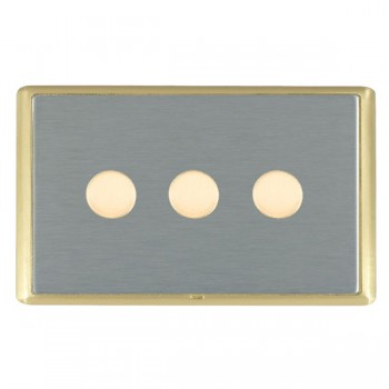 Hamilton Linea-Rondo CFX Satin Brass/Satin Steel 3 Gang 100W Intelligent LED Dimmer