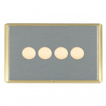 Hamilton Linea-Rondo CFX Satin Brass/Satin Steel 4 Gang 100W Intelligent LED Dimmer