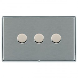 Hamilton Linea-Rondo CFX Bright Chrome/Satin Steel 3 Gang 100W Intelligent LED Dimmer