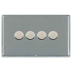 Hamilton Linea-Rondo CFX Bright Chrome/Satin Steel 4 Gang 100W Intelligent LED Dimmer
