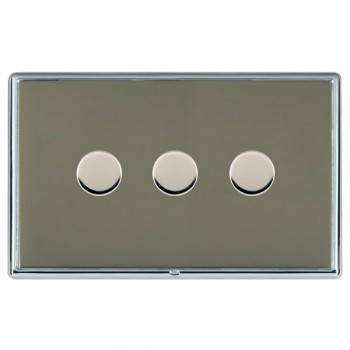 Hamilton Linea-Rondo CFX Bright Chrome/Black Nickel 3 Gang 100W Intelligent LED Dimmer