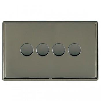 Hamilton Linea-Rondo CFX Black Nickel/Black Nickel 4 Gang 100W Intelligent LED Dimmer