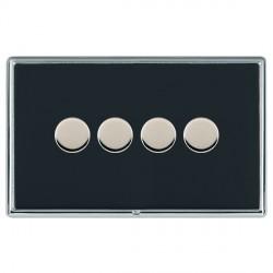 Hamilton Linea-Rondo CFX Bright Chrome/Piano Black 4 Gang 100W Intelligent LED Dimmer
