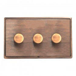 Hamilton Linea-Rondo CFX Copper Bronze/Copper Bronze 3 Gang 100W Intelligent LED Dimmer