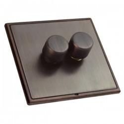 Hamilton Linea-Rondo CFX Etrium Bronze/Etrium Bronze 2 Gang 100W Intelligent LED Dimmer