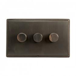 Hamilton Linea-Rondo CFX Etrium Bronze/Etrium Bronze 3 Gang 100W Intelligent LED Dimmer