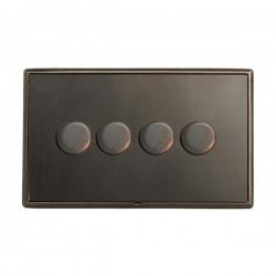 Hamilton Linea-Rondo CFX Etrium Bronze/Etrium Bronze 4 Gang 100W Intelligent LED Dimmer