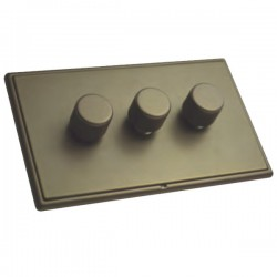 Hamilton Linea-Rondo CFX Richmond Bronze/Richmond Bronze 3 Gang 100W Intelligent LED Dimmer