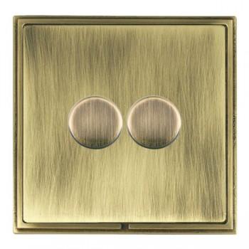 Hamilton Linea-Scala CFX Antique Brass/Antique Brass 2 Gang 100W Intelligent LED Dimmer