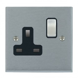 Hamilton Cheriton Victorian Satin Chrome 1 Gang 13A Switched Socket - Double Pole with Black Insert