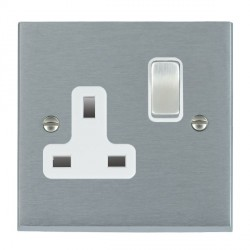 Hamilton Cheriton Victorian Satin Chrome 1 Gang 13A Switched Socket - Double Pole with White Insert